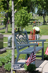 Memorial Bench at St. Vincent de Paul Catholic Cemetery in Osseo, MN